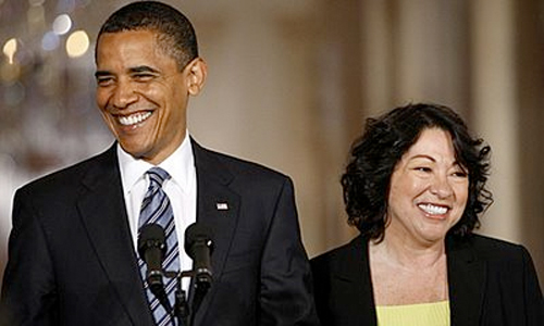 President Barack Obama and Supreme Court justice Sonia Sotomayor