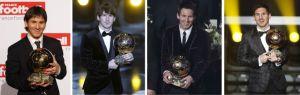 """Leo Messi se ha convertido en el primer jugador de la historia del fútbol en conseguir por cuarta vez el Balón de Oro, premio que le reconoce como mejor jugador del mundo, en su caso, de manera consecutiva. Los 91 goles que firmó el pasado año entre el Barcelona y la selección argentina le avalan. El jugador del Barcelona, con un 41,6% de los votos, superó en la votación a Cristiano Ronaldo (23, 68%) y a Iniesta (10,91%), presentes en una gala que tuvo un marcado acento español. Vicente del Bosque fue escogido el mejor entrenador del año, con el 34,51%, por delante de José Mourinho (20,49%), ausente en la ceremonia, y de Josep Guardiola (12,91%), llegado de Nueva York para la ocasión. Además, cinco jugadores del Real Madrid (Casillas, Marcelo, Sergio Ramos, Xabi Alonso y Cristiano) y cinco del Barcelona (Messi, Piqué, Alves, Iniesta y Xavi) y Falcao, delantero colombiano del Atlético, completaron el equipo del año, formado íntegramente por jugadores de la Liga, según la elección del sindicato de jugadores profesionales, que escoge al mejor once del año por delegación de la FIFA.  La Pulga ganó con el 41,6% de los votos; Cristiano, segundo, con el 23,68% e Iniesta, el 10,91%  Vestido con un esmoquin de Dolce&Gabbana, Messi subió al estrado visiblemente emocionado y así lo reconoció. """"Estoy muy nervioso"""", avisó. No es un premio más, es el cuarto Balón de Oro que le permite superar la leyenda de Cruyff, Van Basten y Platini, que hasta ahora compartían el honor de haberlo ganado tres veces. """"Como dije, no me salían las palabras de la emoción y, obviamente, lo quiero compartir también con Tito [Vilanova] y con Abidal, a los que deseo que se recuperen lo antes posible. Fue un golpe duro y verlos ahora nos pone muy felices, es el premio más grande que nos pueden dar"""". El delantero del Barcelona acudió a la gala acompañado de sus dos hermanos y de su padre. Esta vez, su compañera, Antonella, su madre, Celia, y su hermana Marisol siguieron la gala desde Rosario, por televisi"""